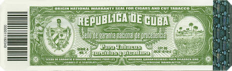 Cuban tobacco warranty seal circa late-2010