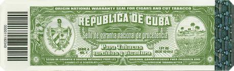 Cuban tobacco warranty seal circa late-2010